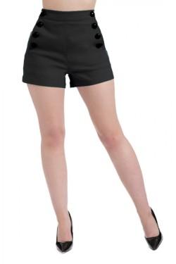 Short noir taille haute pinup