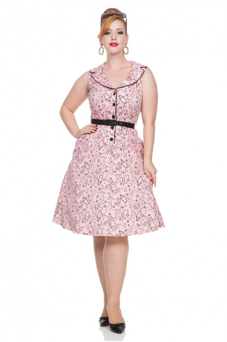 Robe rose rétro cocktail