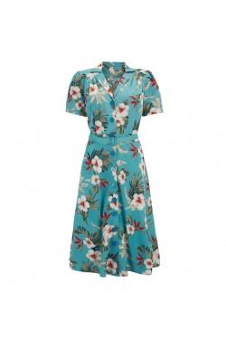 Robe vintage fleurie bleue