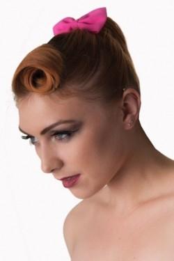 Noeud élastique rose pour cheveu
