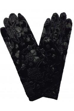 Gants velours noir arabesque