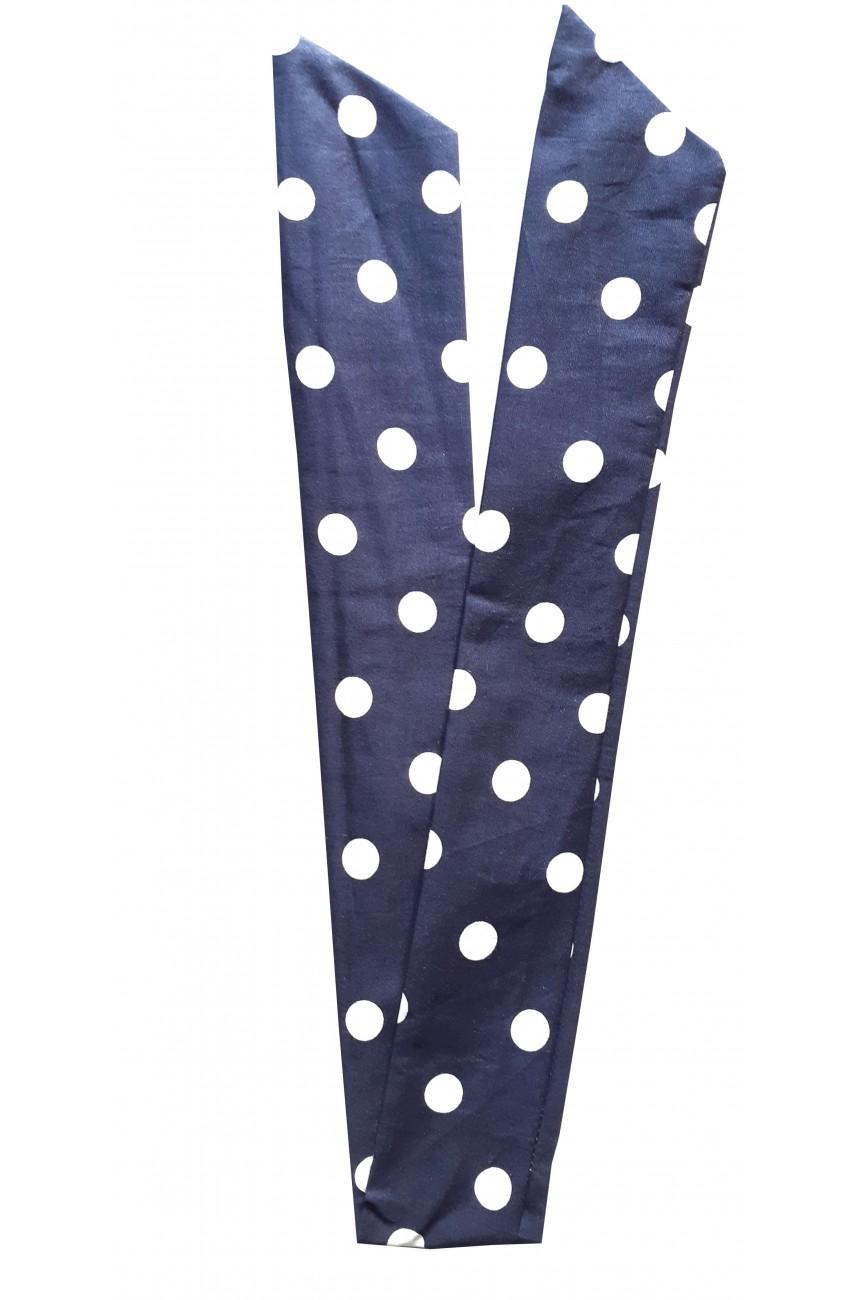 Bandeau pin up bleu a pois blanc