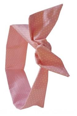 Bandeau pour cheveux rose a pois blancs
