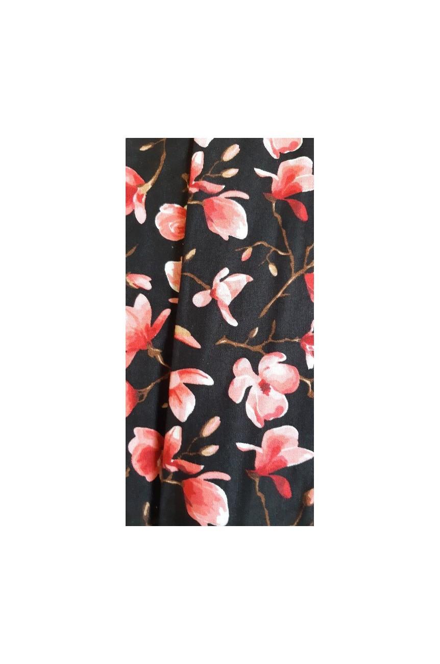 Bandeau pinup noir fleur de cerisier