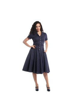 Robe swing bleue a pois longue