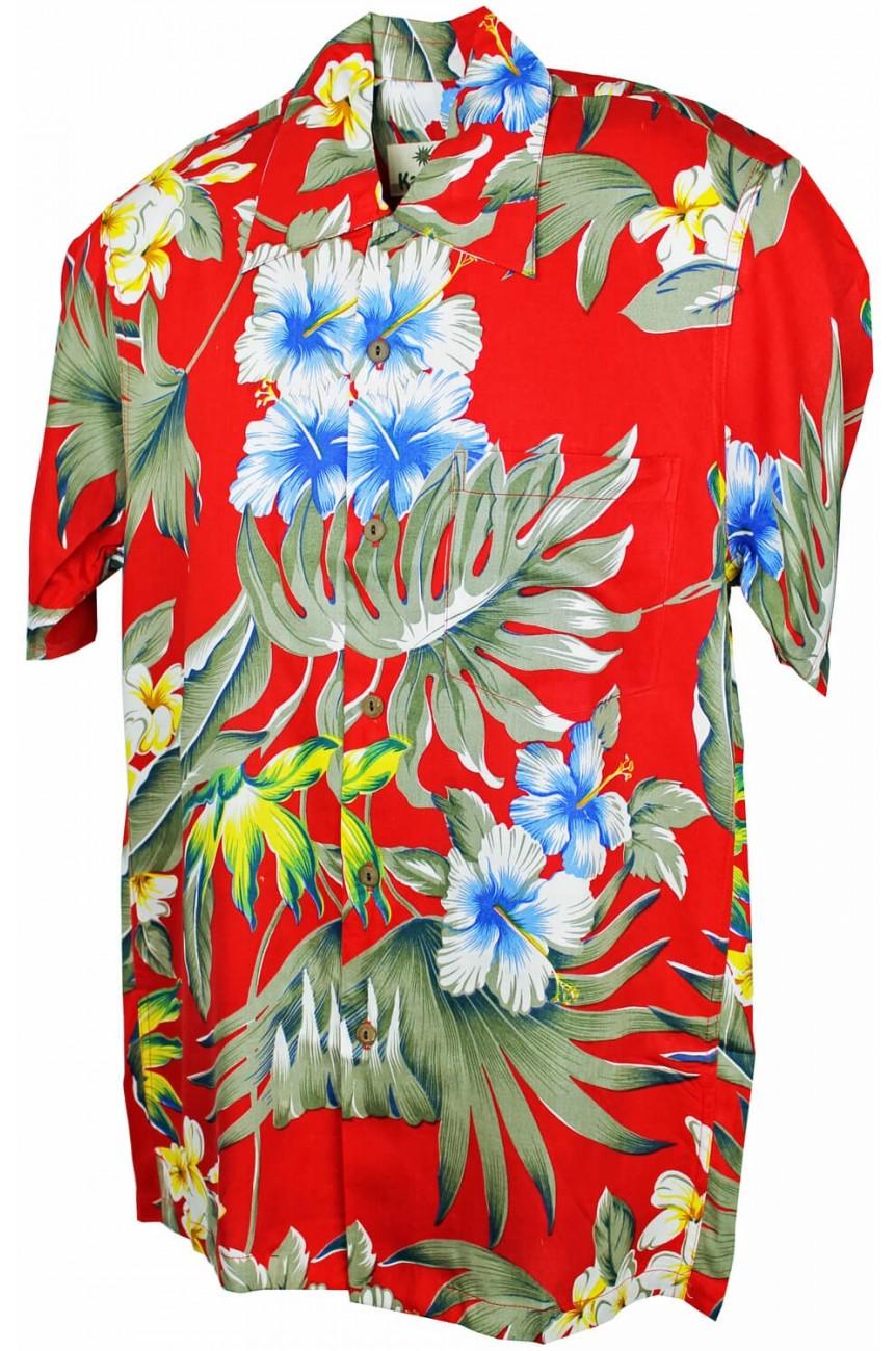 Chemise hawaïenne rouge fleurie