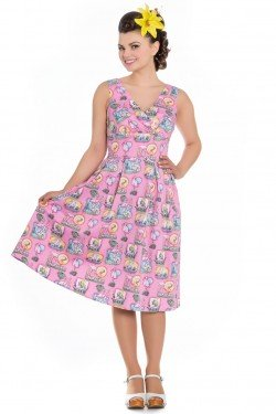 Robe fifties flamingo rose