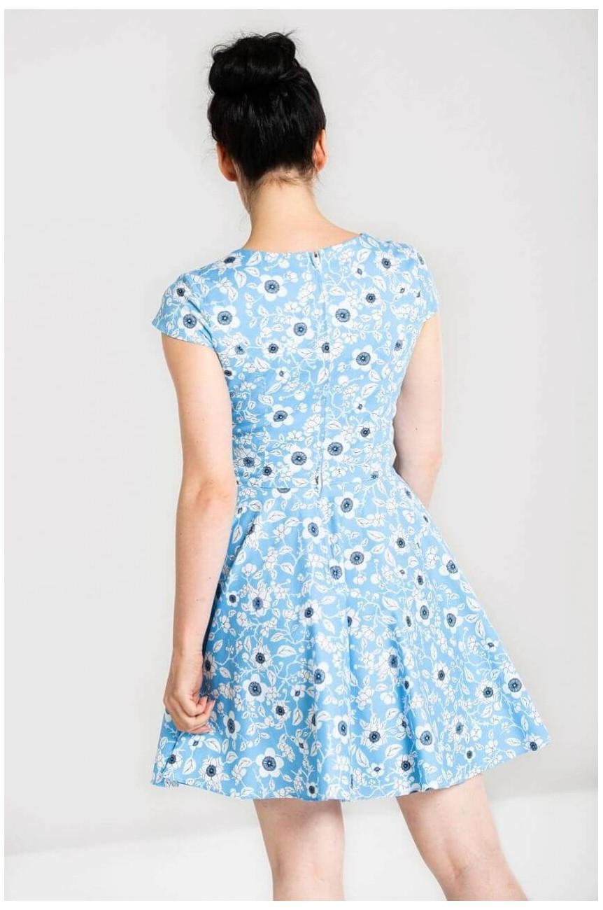 Robe fleurie bleue année 50