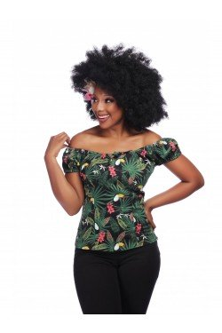 Haut pin up imprimé tropical