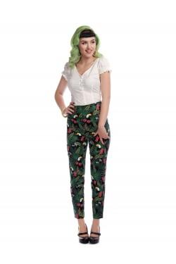 Pantalon motif tropical taille haute