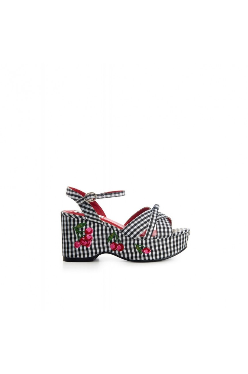 Chaussures compensées vichy Pin-up