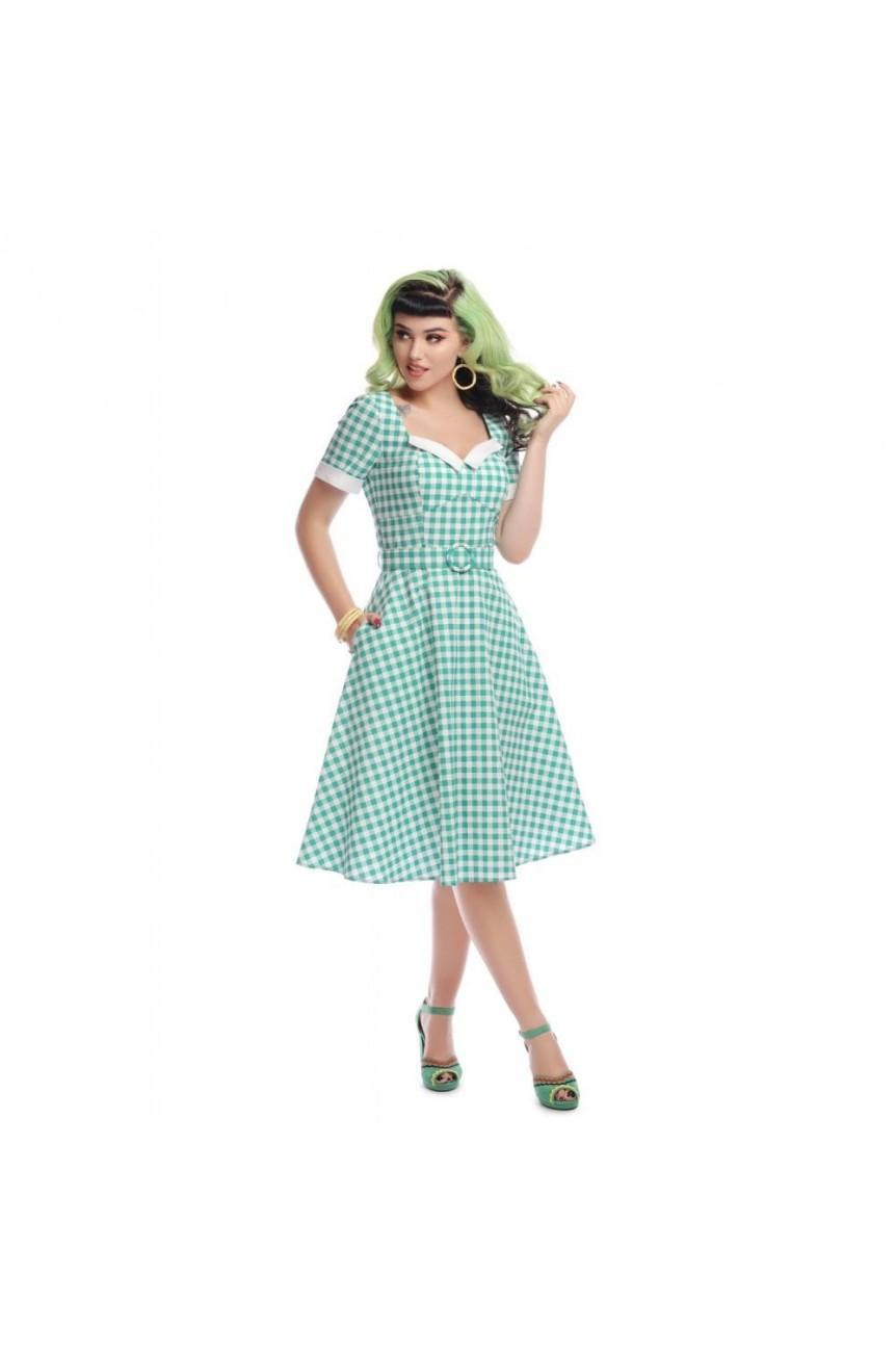 Robe Vichy Swing Vert D Eau Collectif Vintage