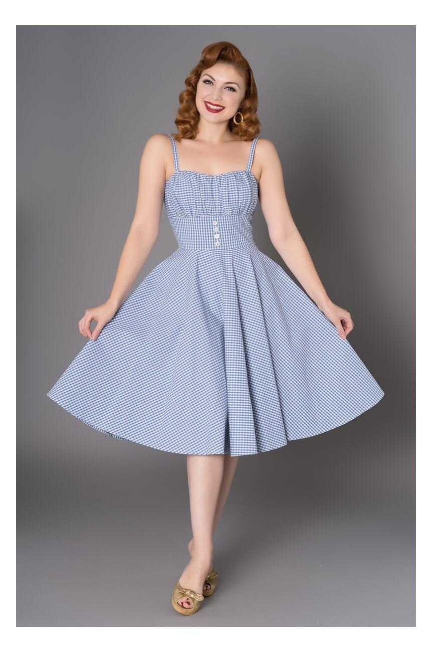 Robe vichy bleue 1950