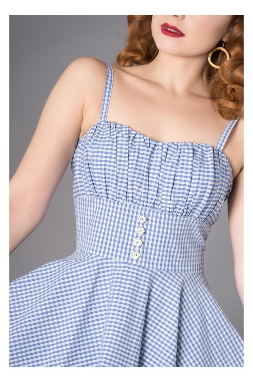 Robe vichy bleue 1950 pinup
