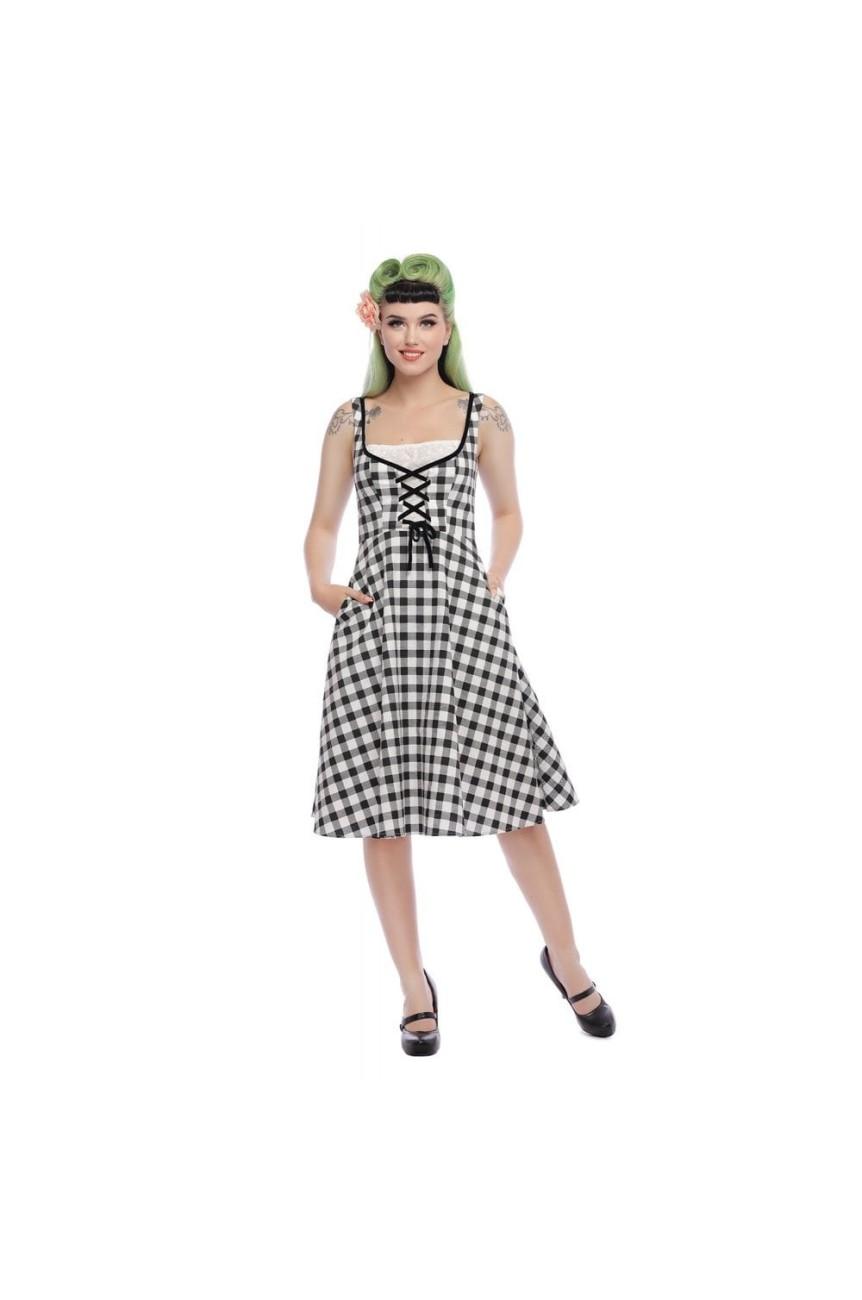 Robe Vichy noir et blanc swing