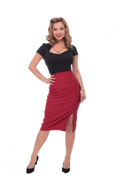 Jupe crayon taille haute rouge a pois