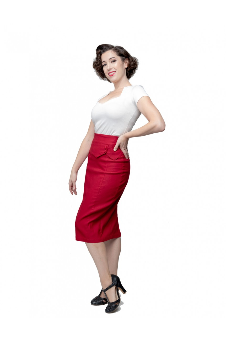 Jupe crayon rouge taille haute
