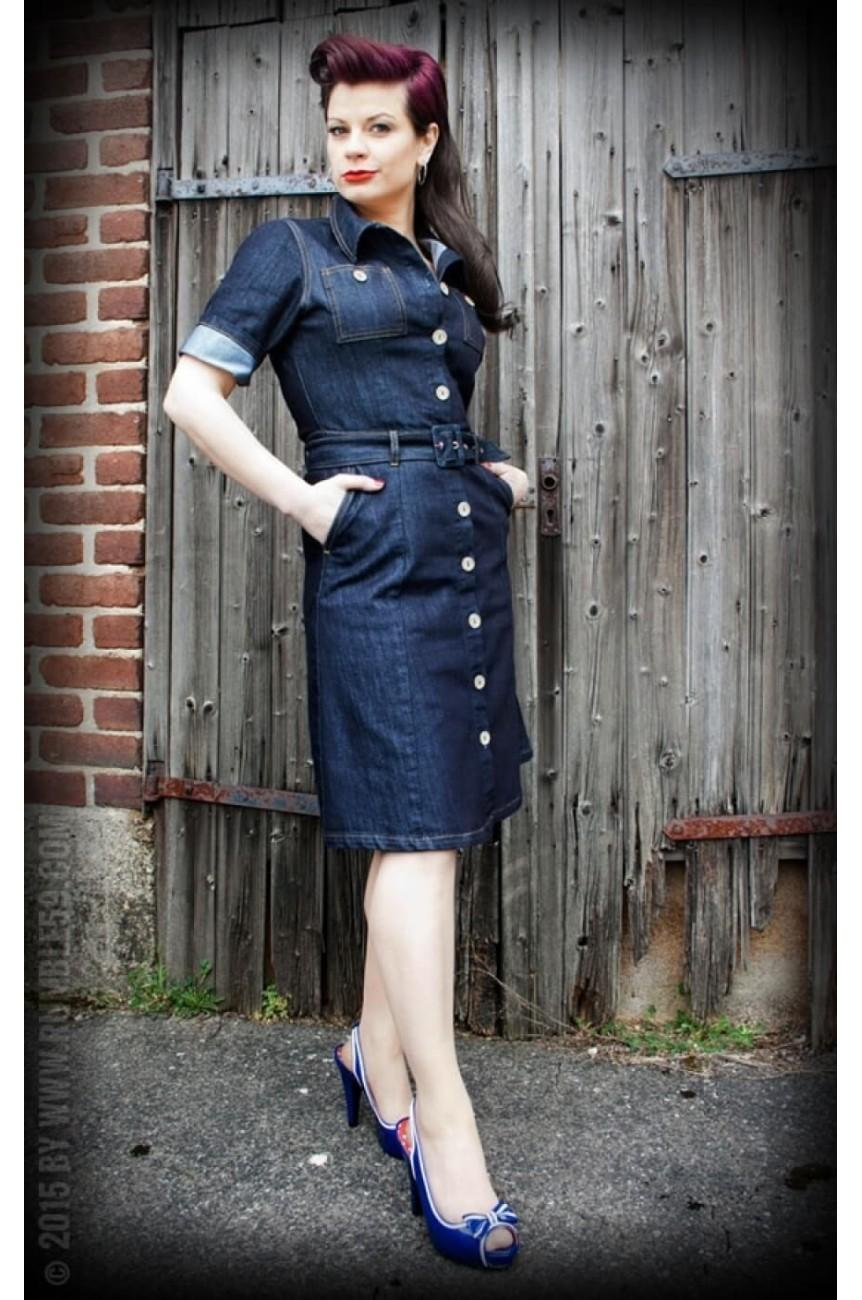 Robe rockabilly en jean et custom