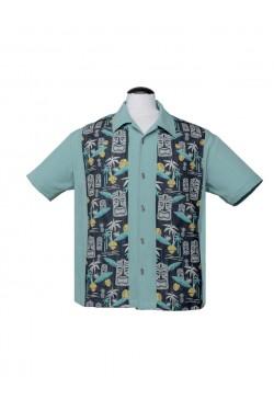 Chemise années50 homme tiki bleue