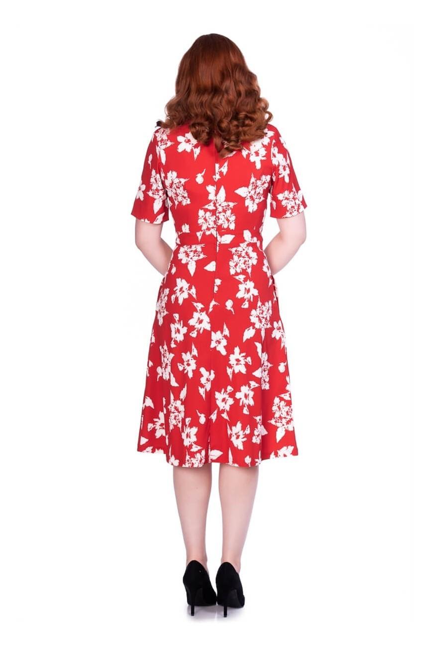 Robe vintage florale rouge