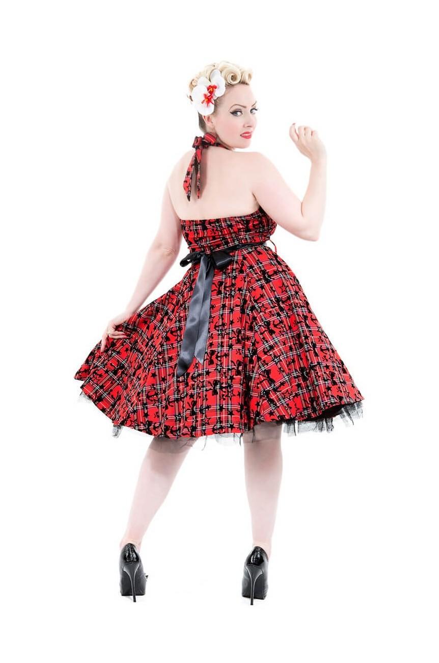 Robe écossais rouge longue rock n roll