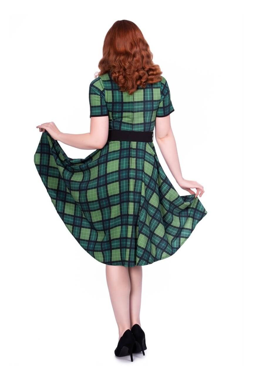 Robe écossais vert rétro