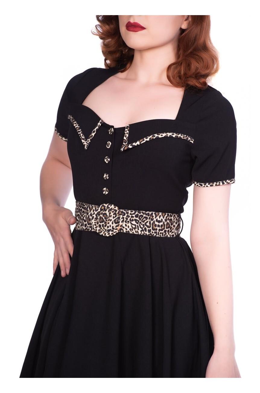 Robe rockabilly noir et léopard