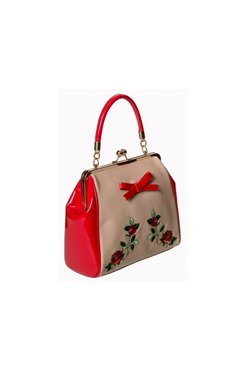 Sac pinup beige et rouge banned