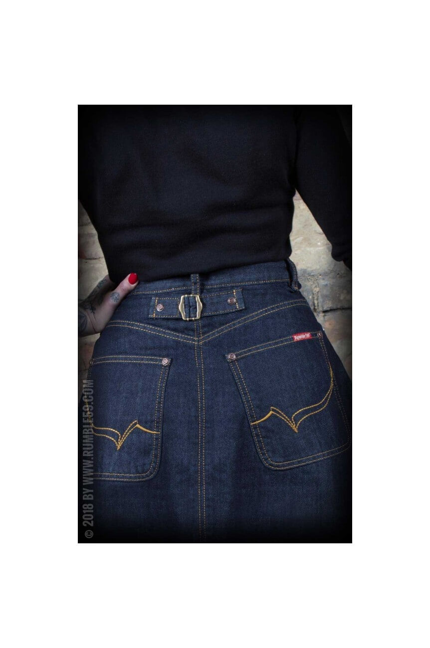 Jupe rockabilly en jean taille haute