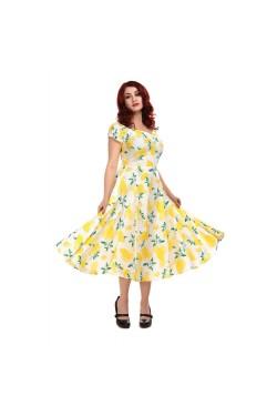 Robe vintage imprimé citron