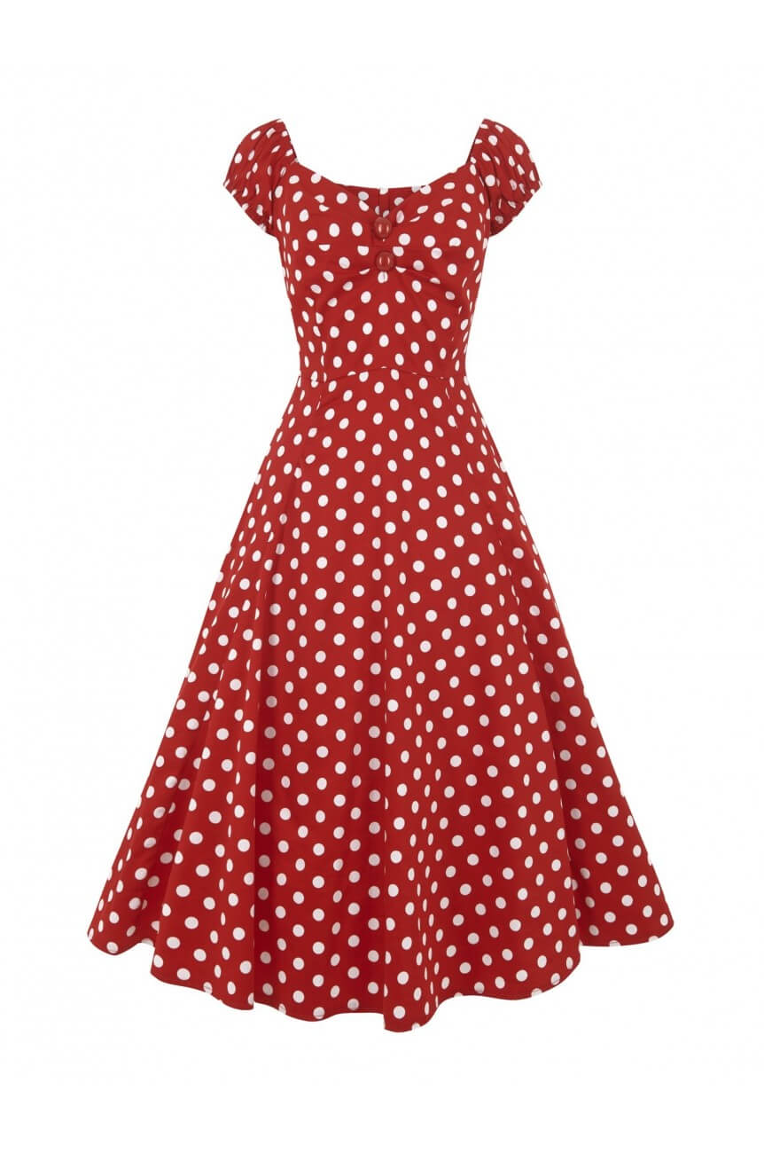 Robe pin-up vintage rouge à pois