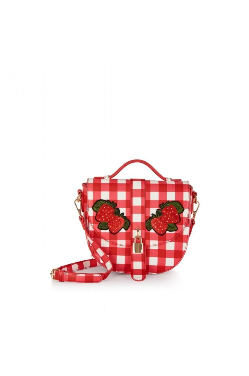 Sac pin-up coeur vichy fraises