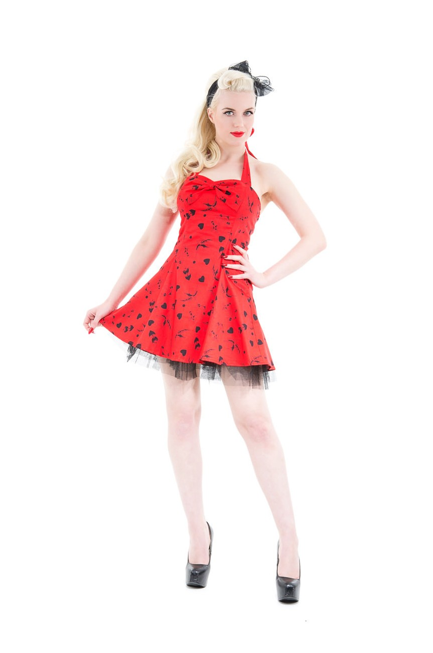 Robe rockabilly rouge motifs tattoo H&R