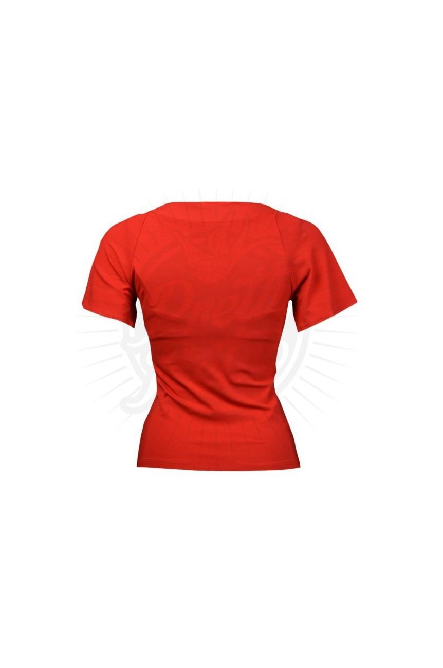 Haut vintage rouge avec noeud
