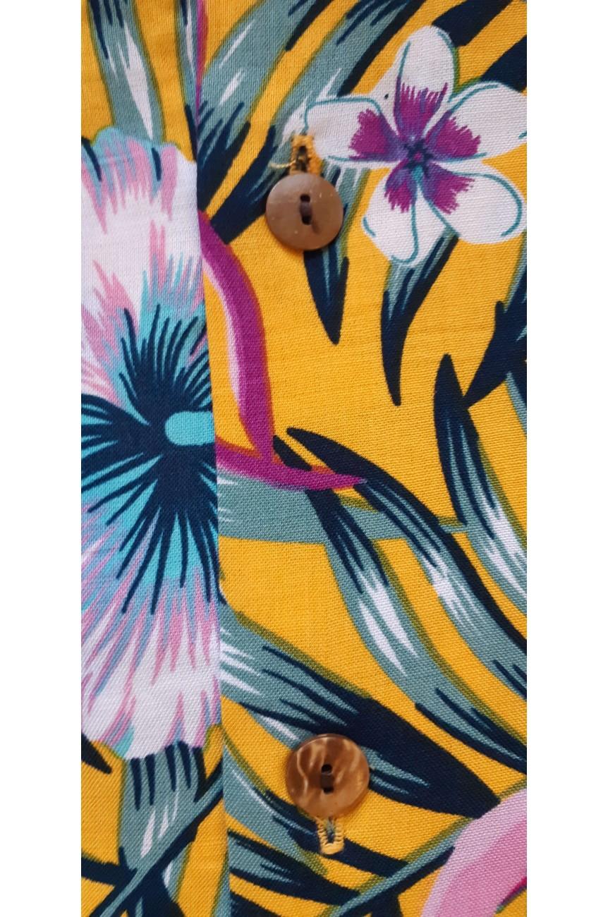 Chemise hawaïenne jaune flamingo