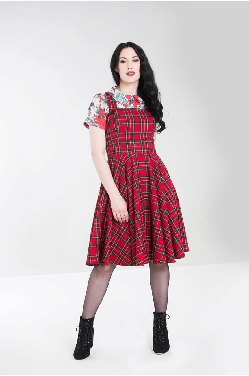 Robe écossais rouge rétro