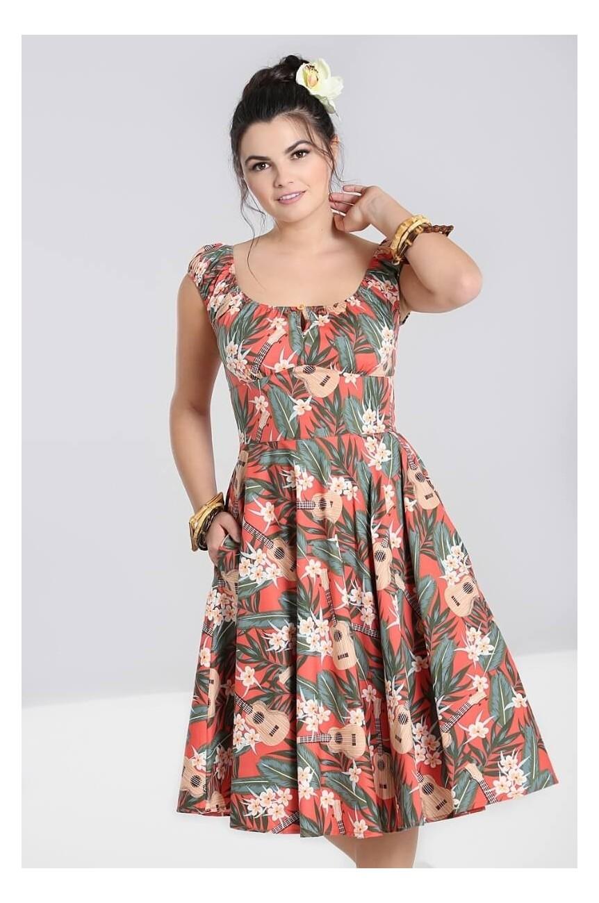 Robe swing motif tropicaux