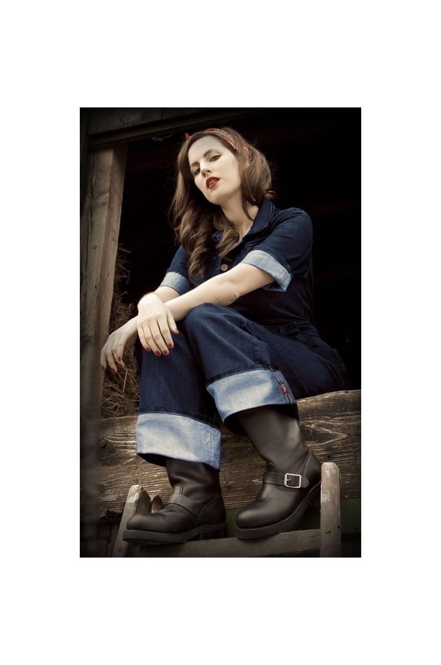Combinaison rockabilly en jean femme