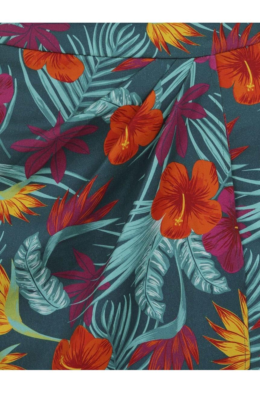 Jupe crayon vintage motif tropicaux