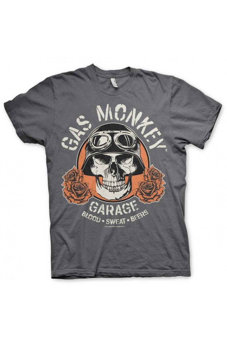 Tee shirt gas monkey gris garage skull