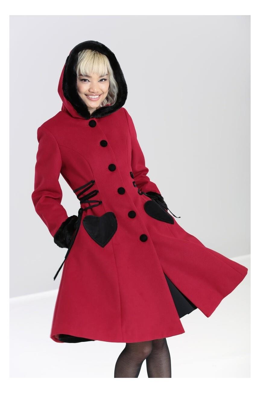 Manteau rouge poche coeur