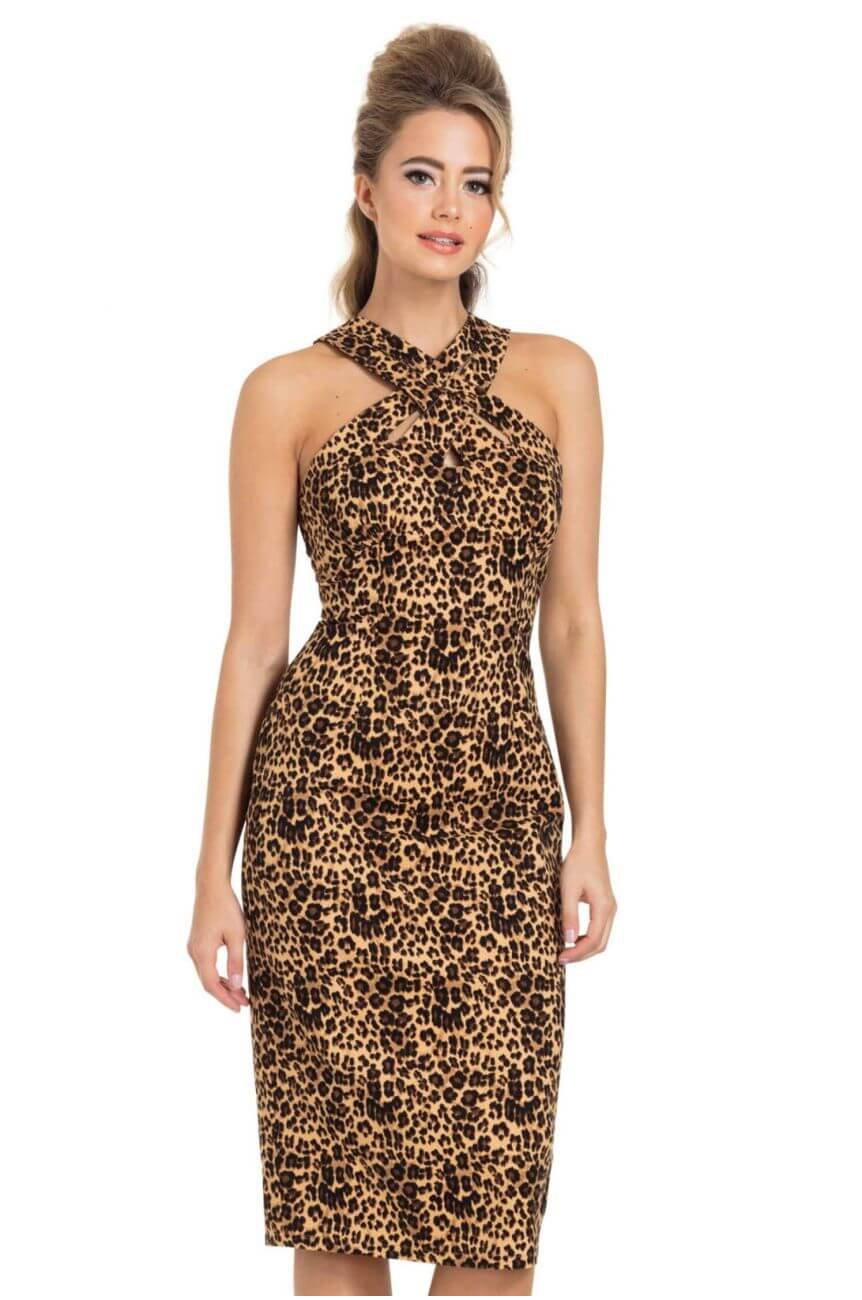 Robe fourreau léopard pin-up