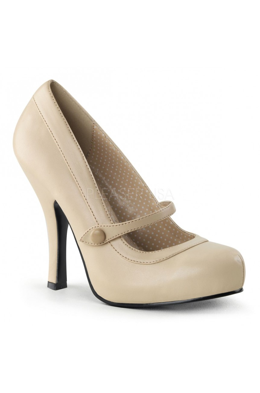 Chaussure pin up couture vernie beige