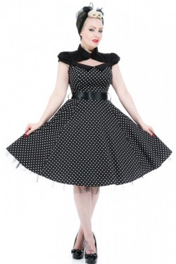 Robe pin up noire a pois blancs