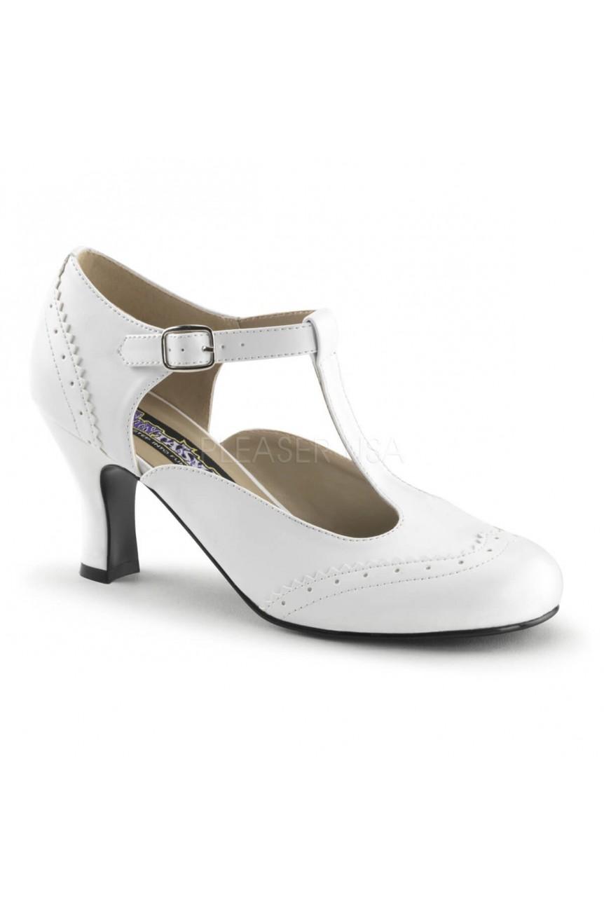 Chaussures retro blanche petit talon flapper-26
