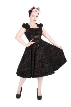Robe victorienne noire floquée