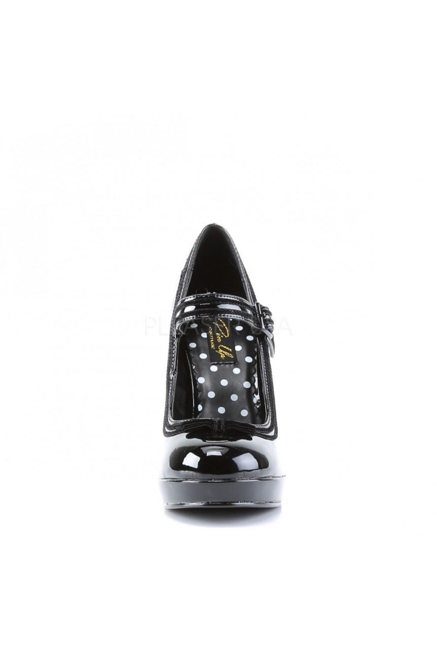 Chaussure retro pin up vinyle noir