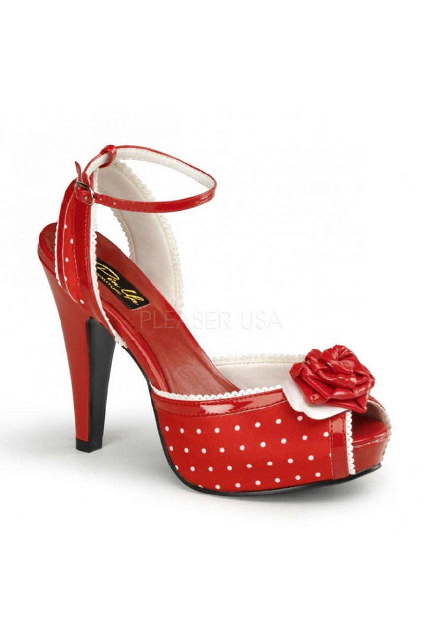 Escarpin pin up a pois rouge