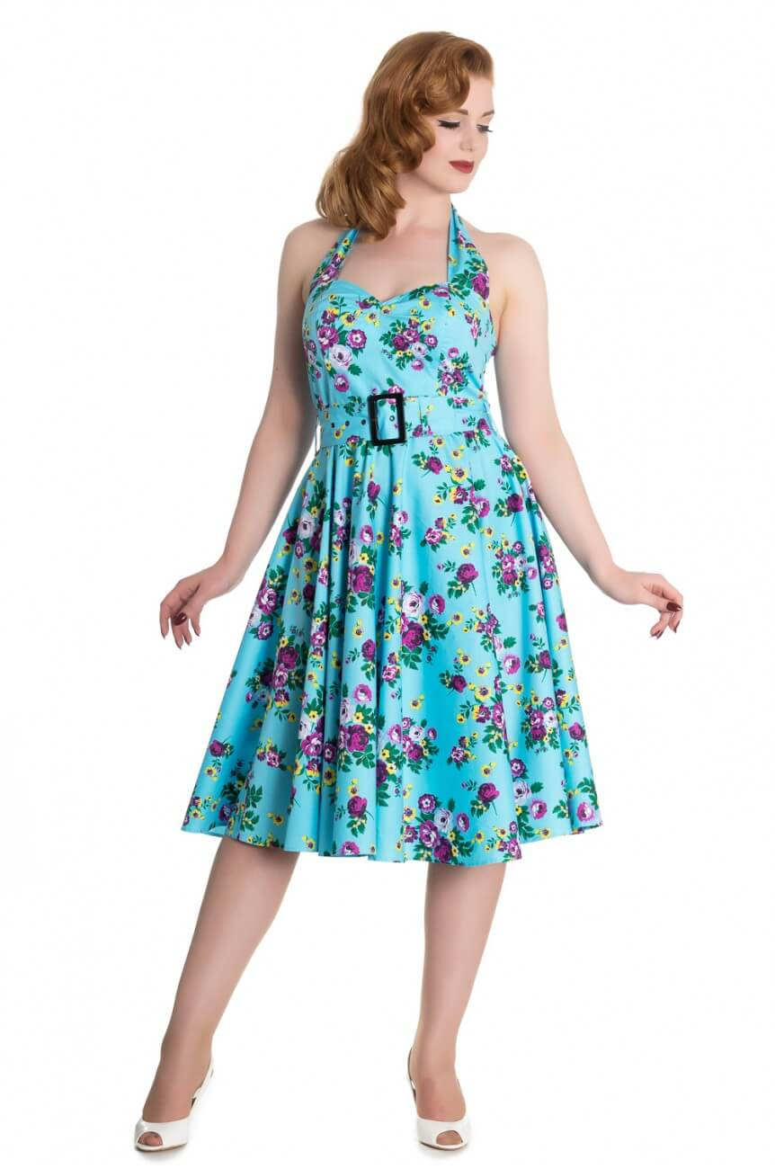 Robe pin up bleue a fleurs hell bunny