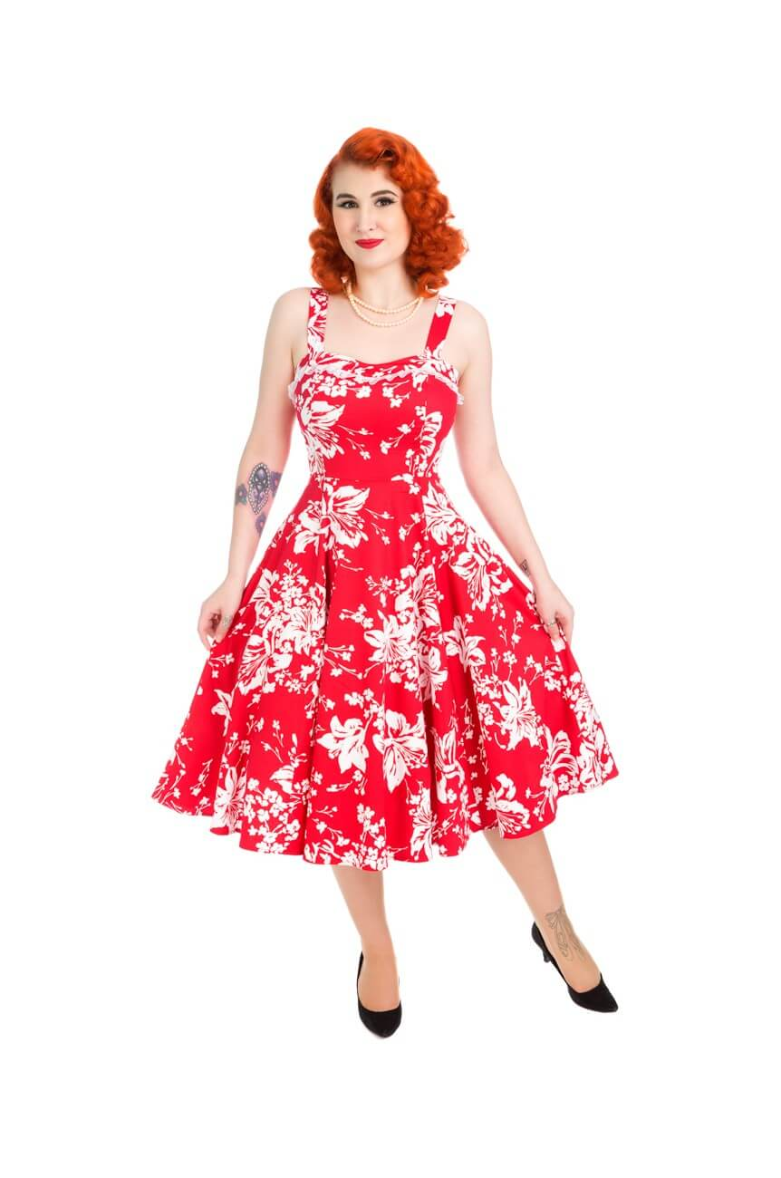 Robe rockabilly floral rouge